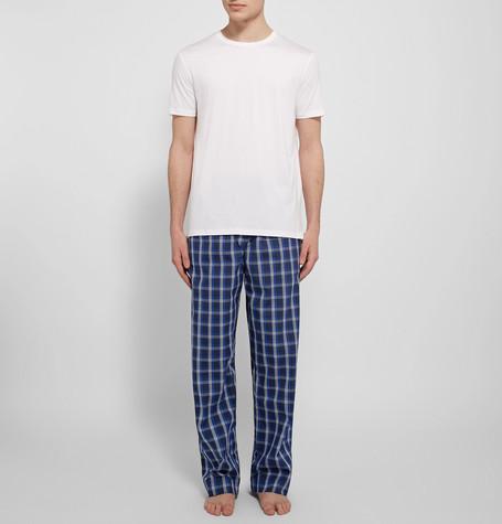 Derek Rose Barker Checked Cotton Pyjama Trousers in Midnight Blue