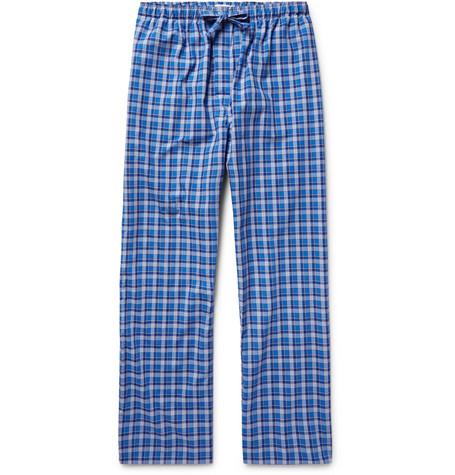 Derek Rose Ranga Checked Brushed-Cotton Pyjama Trousers in Blue