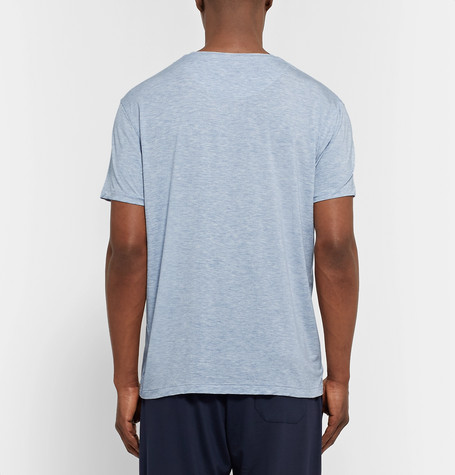 Derek Rose Ethan Mélange Stretch-Micro Modal Jersey T-Shirt in Sky Blue