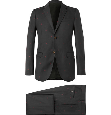 Gucci Grey Slim-Fit Wool-Jacquard Suit In Charcoal