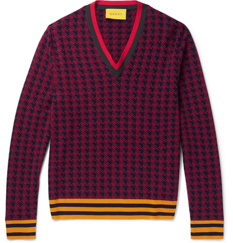Gucci Webbing-Trimmed Houndstooth Wool Cardigan In Burgundy