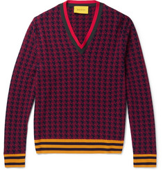 Gucci Stripe-Trimmed Houndstooth Wool Sweater