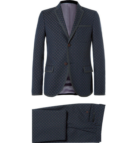 Gucci Blue Slim-Fit Wool And Cotton-Blend Jacquard Suit