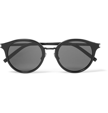 53acdd122b2 Saint Laurent Classic 57 Round-Frame Acetate And Gunmetal-Tone Sunglasses  In Black