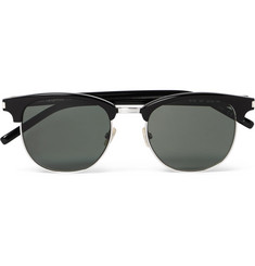 Saint Laurent D-Frame Acetate and Silver-Tone Sunglasses