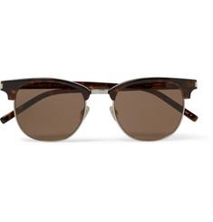 Saint Laurent D-Frame Tortoiseshell Acetate and Silver-Tone Sunglasses