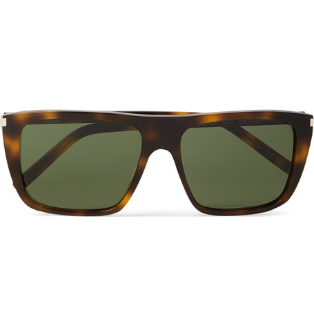 Saint Laurent New Wave Square-Frame Acetate Sunglasses In Green