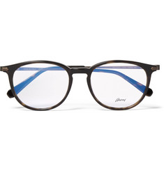 Brioni Round-Frame Tortoiseshell Acetate and Bronze-Tone Optical Glasses