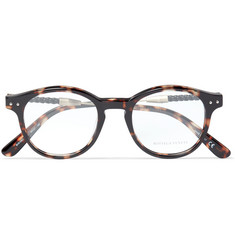 Bottega Veneta Round-Frame Intrecciato Leather-Trimmed Tortoiseshell Acetate Optical Glasses