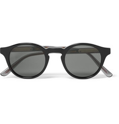 Bottega Veneta Round-Frame Acetate and Gunmetal-Tone Polarised Sunglasses