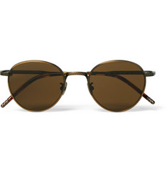 Bottega Veneta Round-Frame Bronze-Tone and Acetate Sunglasses