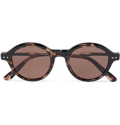Bottega Veneta - Round-Frame Leather-Trimmed Tortoiseshell Acetate Sunglasses