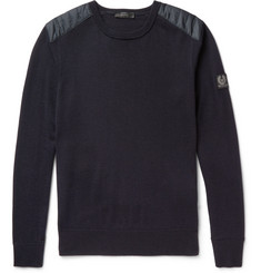 Belstaff - Kerrigan Quilted Shell-Trimmed Virgin Wool Sweater