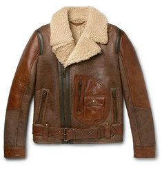 Belstaff Danescroft Leather-Trimmed Shearling Jacket
