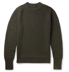 Belstaff Cardington Leather-Trimmed Ribbed Wool-Blend Sweater
