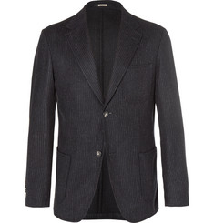 Massimo Alba Blue Benetti Slim-Fit Pinstriped Wool Blazer