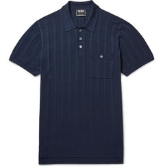 Todd Snyder Striped Knitted Silk and Cotton-Blend Polo Shirt