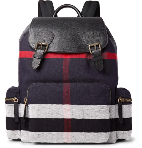 Burberry - Pebble-Grain Leather and Checked Canvas Backpack - Black