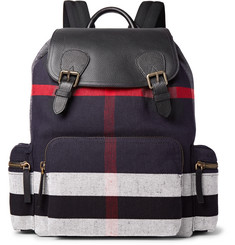 Burberry Pebble-Grain Leather and Checked Canvas Backpack