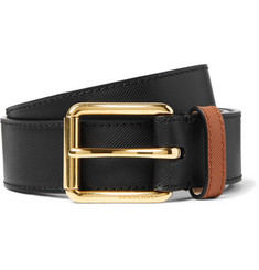 Burberry - 3.5cm Two-Tone Embossed Leather Belt
