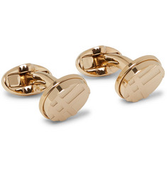 Burberry - Checked Gold-Tone Cufflinks