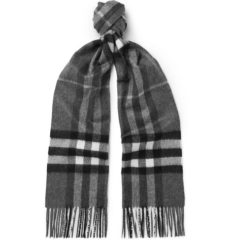 Burberry Fringed Checked Cashmere Scarf In Gray