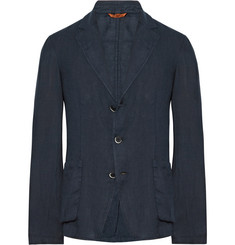 Barena Blue Slim-Fit Unstructured Linen Blazer