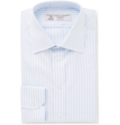 Turnbull & Asser Blue Slim-Fit Striped Cotton-Twill Shirt