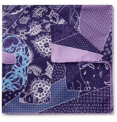 Turnbull & Asser English Bulldog Printed Silk-Twill Pocket Square