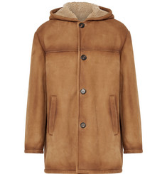 Prada Burnished-Shearling Hooded Coat
