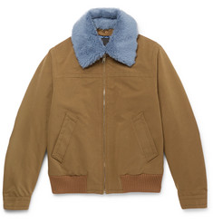 Prada Shearling-Trimmed Shell Flight Jacket