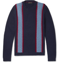 Prada Slim-Fit Cable-Knit Wool and Cashmere-Blend Sweater