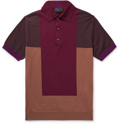 Prada Colour-Block Knitted Virgin Wool Polo Shirt