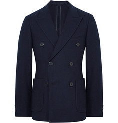 Prada Midnight-Blue Unstructured Double-Breasted Wool and Cashmere-Blend Blazer