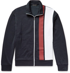 Prada Striped Loopback Cotton-Jersey Zip-Up Sweatshirt