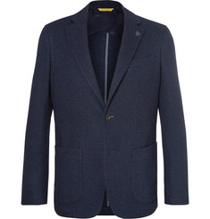 Canali Blue Unstructured Wool and Cotton-Blend Blazer
