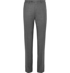 Canali Grey Super 120s Wool-Flannel Trousers