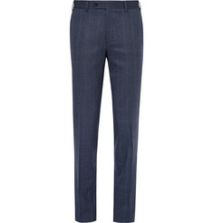 Canali - Blue Prince of Wales Checked Stretch-Wool Trousers