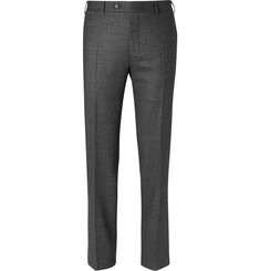 Canali Grey Slim-Fit Pin-Dot Stretch-Wool Trousers