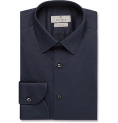 Canali - Blue Slim-Fit Stretch Cotton-Blend Shirt