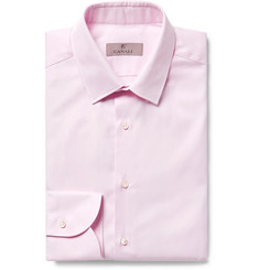 Canali Pink Slim-Fit Textured-Cotton Shirt