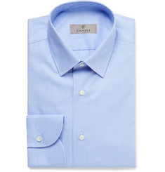 Canali Blue Slim-Fit Puppytooth Cotton-Poplin Shirt