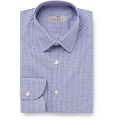 Canali - Blue Slim-Fit Gingham Cotton-Poplin Shirt