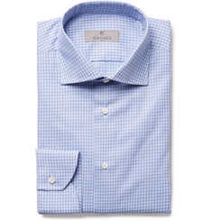 Canali - Blue Slim-Fit Cutaway-Collar Checked Cotton-Poplin Shirt