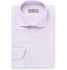 Canali Purple Cutaway-Collar Basket-Weave Cotton Shirt
