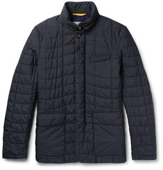 Canali Leather-Trimmed Quilted Shell Jacket