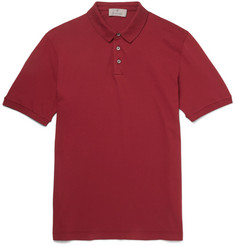 Canali - Distressed Stretch-Cotton Piqué Polo Shirt