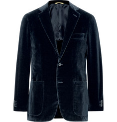 Canali Blue Kei Slim-Fit Unstructured Cotton-Velvet Blazer