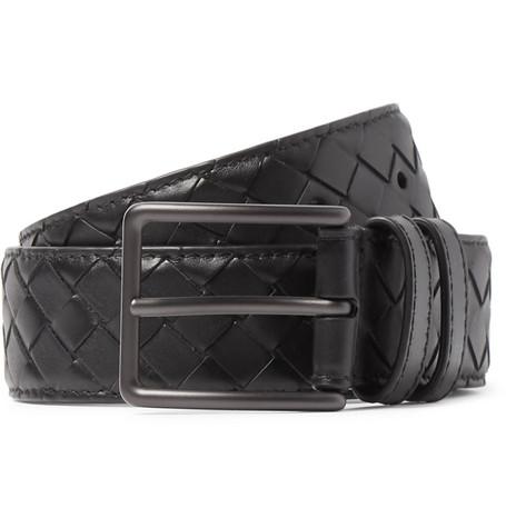 Bottega Veneta 3Cm Black Intrecciato Leather Belt