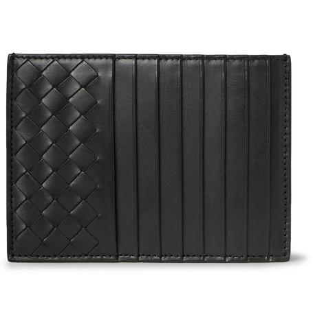 Bottega Veneta Intrecciato Leather Cardholder In Black